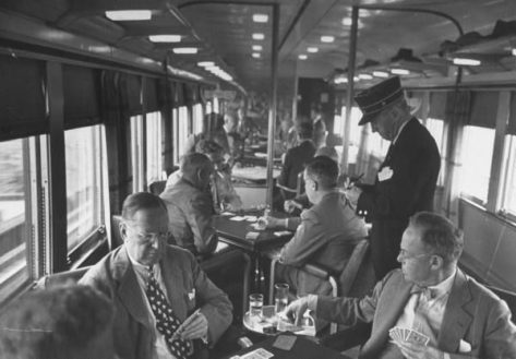 bridge-playing commuters on way home to Connecticut from business in New York City, NY1948