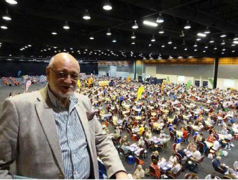 El Presidente de la WBF, Gianarrigo Rona nos muestra como se ve parte del salon de juego desde arriba.