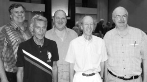 Winners of the Roth Open Swiss Teams: Mike Passell, Adam Zmudzinski, Cezary Balicki, Bart Bramley and Lew Stansby. Inset: captain Carolyn Lynch.