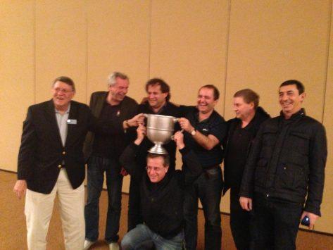 Pierre Zimmermann, team captain, Fulvio Fantoni, Claudio Nunes, Geir Helgemo, Franck Multon and Tor Helness.