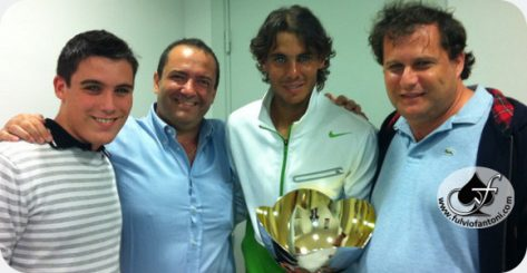 My son Luca, Claudio, Rafael Nadal and me