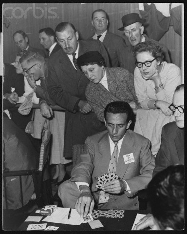 October 1957, London, England, UK --- Benito Garozzo plays a tense game of cards in the British Bridge World