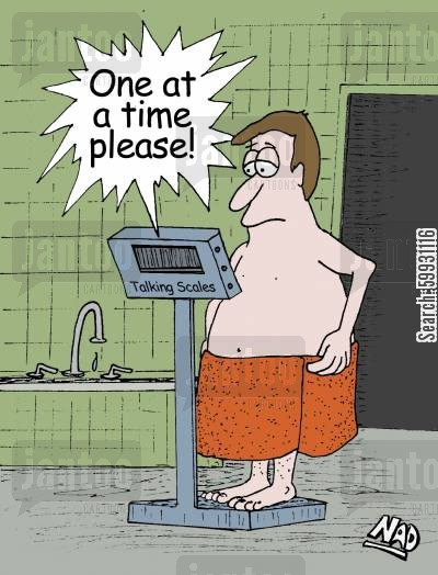 A man stands on the talking scale - 'One at a time please!'