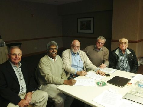 Al Levy (WBF Executive Vice President), K R Ramamurthy (President, Indian Bridge Federation, Gianarrigo Rona (WBF President), Marc de Pauw (WBF Treasurer) and Ernesto d'Orsi (WBF Past President)