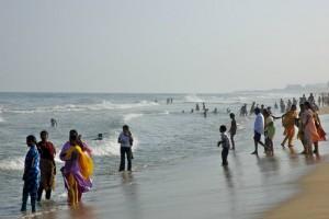 Paddling on Marina Beach, Chennai