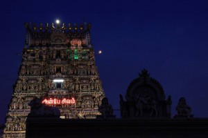 Gopurams after dark at the Kalapeeshwar Temple