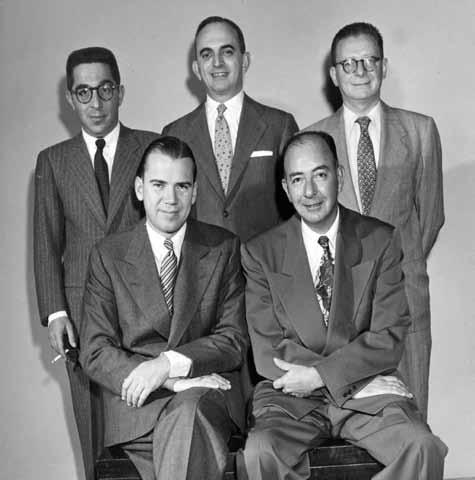 Spingold del año 1952 (sentados) John Crawford, Howard Schenken; (parados) George Rapee, Sam Stayman, B. Jay Becker