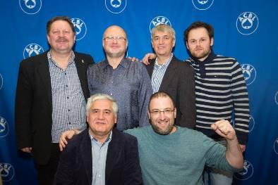 Reisinger Board-a-Match Teams winners - Jerzy Skrzyzpczak and Ron Pachtmann (seated); Boguslaw Gierulski, Vytautas Vainikonis, Olanski Wojtek and Pawel Zatorski (standing).