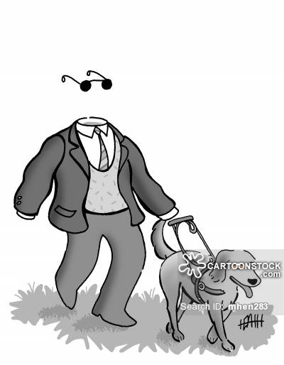 Invisible man with his seeing eye dog.
