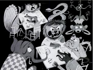 bridge cartoon animales