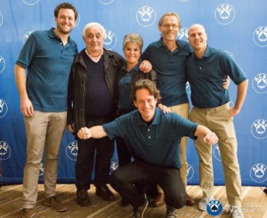 Bob Drijver, Dano De Falco, Patricia Cayne, Tim Verbeek (kneeling), Bart Nab and Danny Molenaar, winners of the Jacoby Open Swiss Teams.