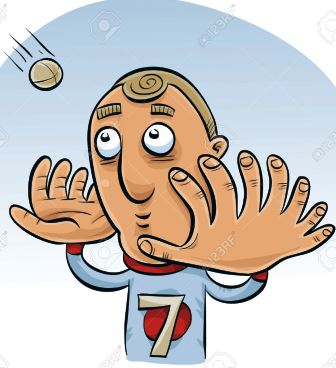 A cartoon man with big hands with many fingers trying to catch a ball.
